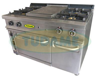 Comprar Cocina industrial 4 hornillas con horno, plancha y compartimiento con parrilla
