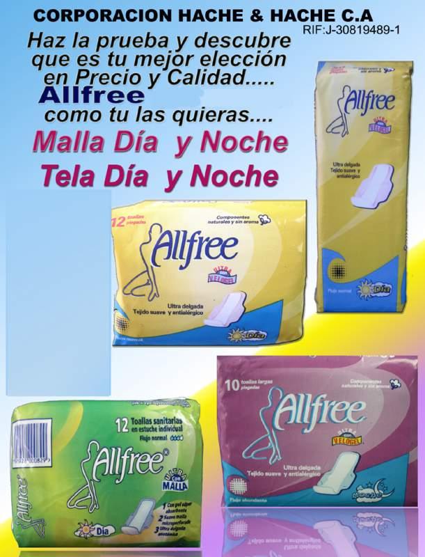 Comprar Medios de higiene, toallas sanitarias de la línea Allfree