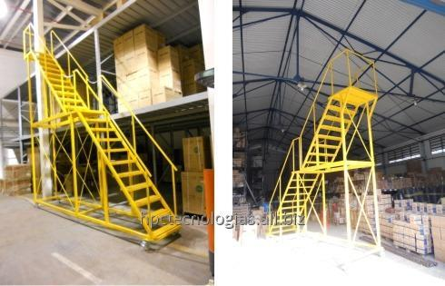 escaleras metalicas moviles para almacen