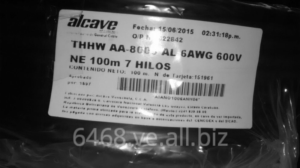 Cable Alcave Electrico Thhw Aa-8000 Al 6awg 600v 7 Hilos