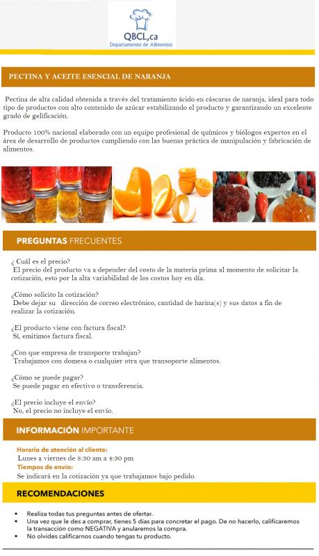 Comprar Pectina y aceite esencial de naranja