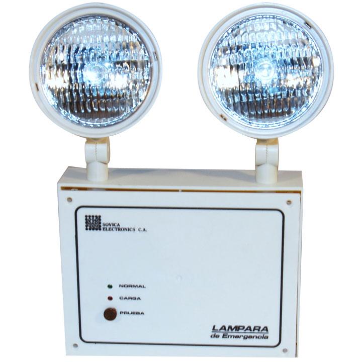 Comprar Lámpara de emergencia caja plástica dos faros direccionales