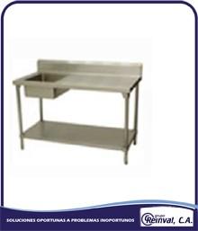 Comprar Mesas de acero inoxidable con tina de lavado