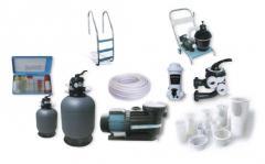 Equipo y materiales para las piscinas