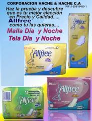 Medios de higiene, toallas sanitarias de la línea