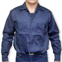 Camisa en tela Drill azul marino