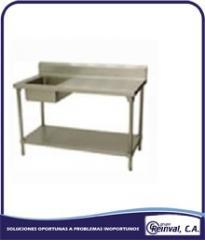 Mesas de acero inoxidable con tina de lavado
