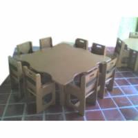 Muebles para guarderías, Mesa cuadrada con 8 sillas terapeutica