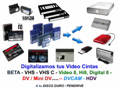 Conversion de Beta, VHS, VHSC, Video 8, Hi8, D8, DVCAM y HDV a Formatos Digitales